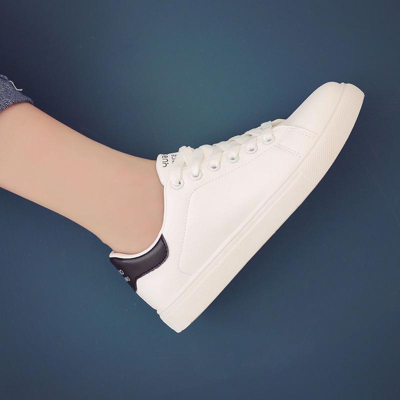 街拍2019春季新款小白鞋女百搭韩版学生系带板鞋平底运动休闲女鞋