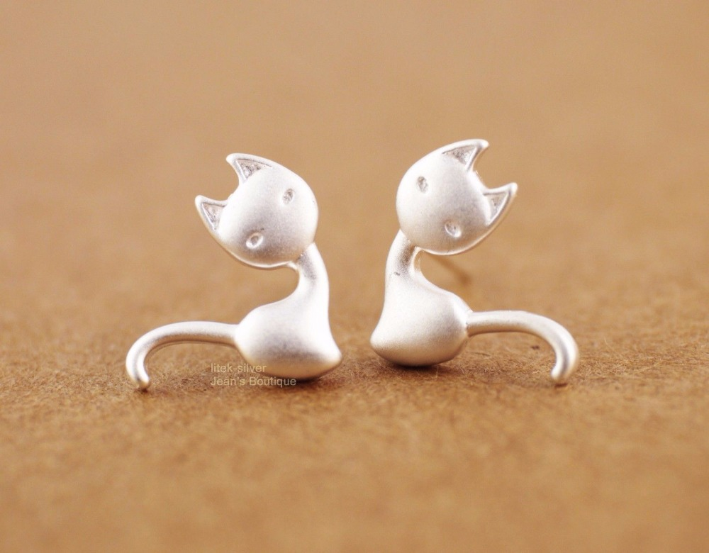 Three-dimensional kitten earrings NHCU152841