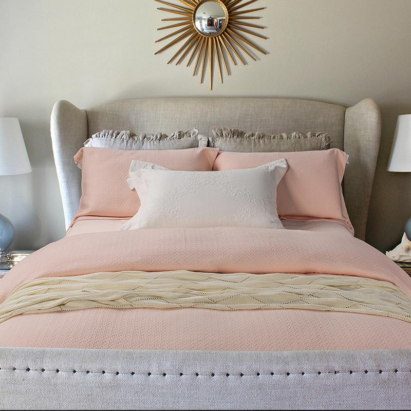 外贸出口三层空气美棉大提花四件套床品纯色全棉被套1.8m纯棉床单