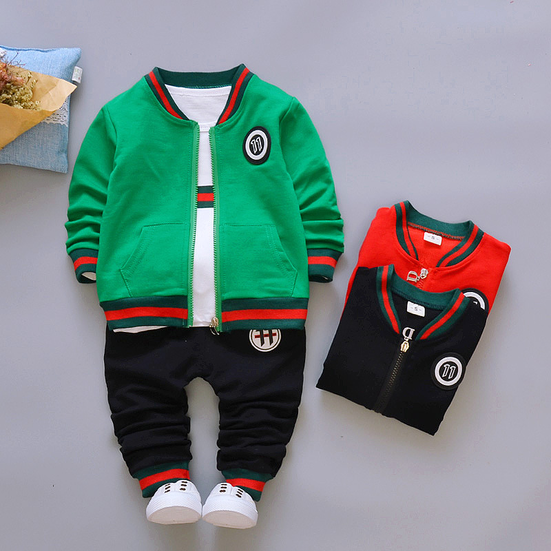 Children's wear 2017 new children's fashion clothes boy's long sleeve suit spring and autumn sports three piece set 1-2-3-4 years old