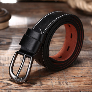 Factory wholesale fashion leisure alloy leather belt, leisure automatic buckle two-layer cowhide frosted women's belt