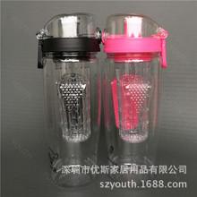 【厂家批发】2018创意广告塑料水瓶 运动环保Tritan柠檬杯水果杯