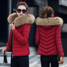 2018冬季新款短款大毛领棉衣女韩版修身显瘦小棉袄羽绒棉服外套潮