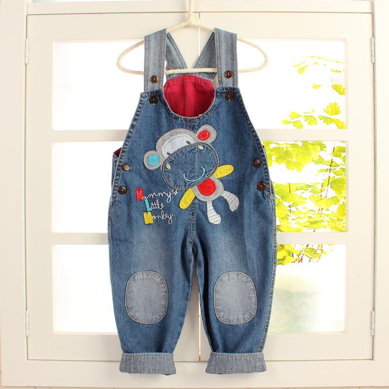 【清】儿童背带裤纯棉宝宝牛仔裤婴幼儿童连体裤子可开裆婴儿长裤