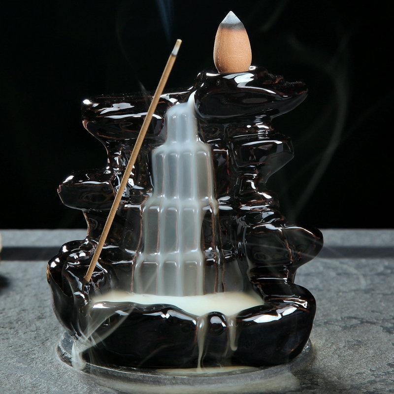 厂家批发陶瓷倒流香炉香薰炉 塔香锥香炉 佛教用品倒流烟香炉