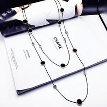 復古黑色水晶雙層項鏈裝飾品女 簡約長款毛衣鏈韓國時尚配飾吊墜