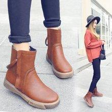女靴2018秋冬新款復古雙拉鏈短靴保暖中筒馬丁靴防滑厚底軟PU女鞋