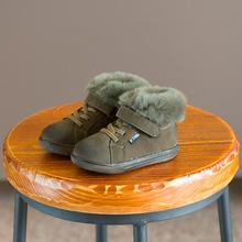 2017冬季新款童鞋兒童真皮真毛復古板鞋男童女童寶寶軟底加棉棉鞋