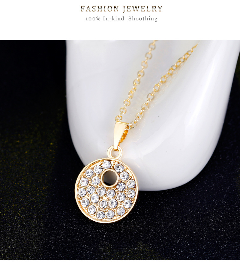 fashion style jewelry set round alloy diamondplated kc necklace earrings bracelet ring fourpiece set wholesale nihaojewelry NHDR225317