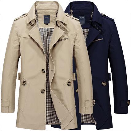 外贸男士新款秋冬中长款风衣外套男式速卖通大纯棉码夹克厂家直销