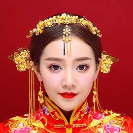 複古新娘古裝頭飾結婚秀禾服中式民族風紅色發飾套裝婚禮飾品包郵