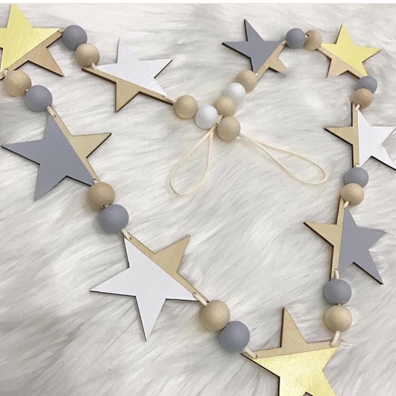 ins北欧风家居 木质星星横幅挂帘 儿童房童装店墙面装饰帐篷道具