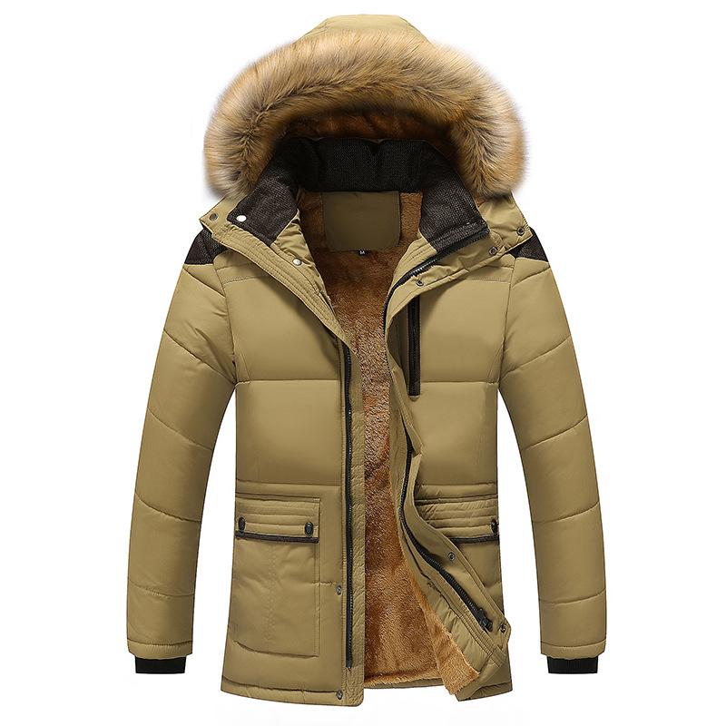 新款男式冬季加绒加厚保暖棉衣休闲时尚外套中老年爸爸装男士棉袄