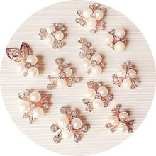 花枝形飾品 蝴蝶結發夾頭飾 輔料合金鑲鉆 DIY飾品配件批發