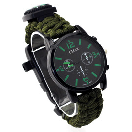 Creative umbrella rope watch men's high-end business wristwatch multifunctional compass watch nylon strap