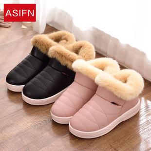 加绒保暖PU冬季棉拖鞋防水女士情侣厚底包跟高帮毛毛男士居家棉鞋