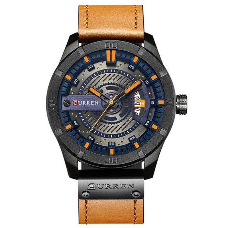 CURREN 卡瑞恩8301男士皮带手表防水个性皮革腕表时尚石英表日历