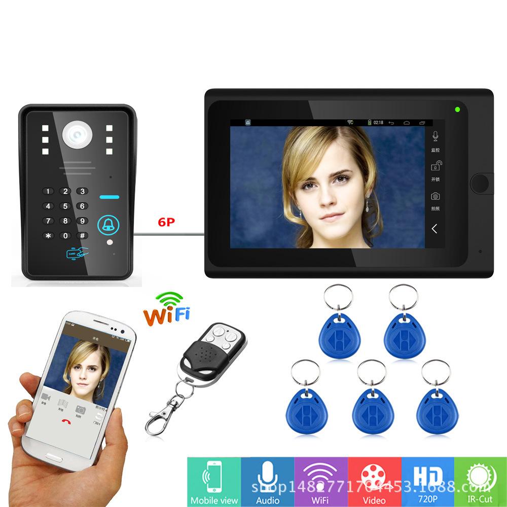 智能有线可视对讲门铃带手机APP 远程无线WIFI拍照录像开锁