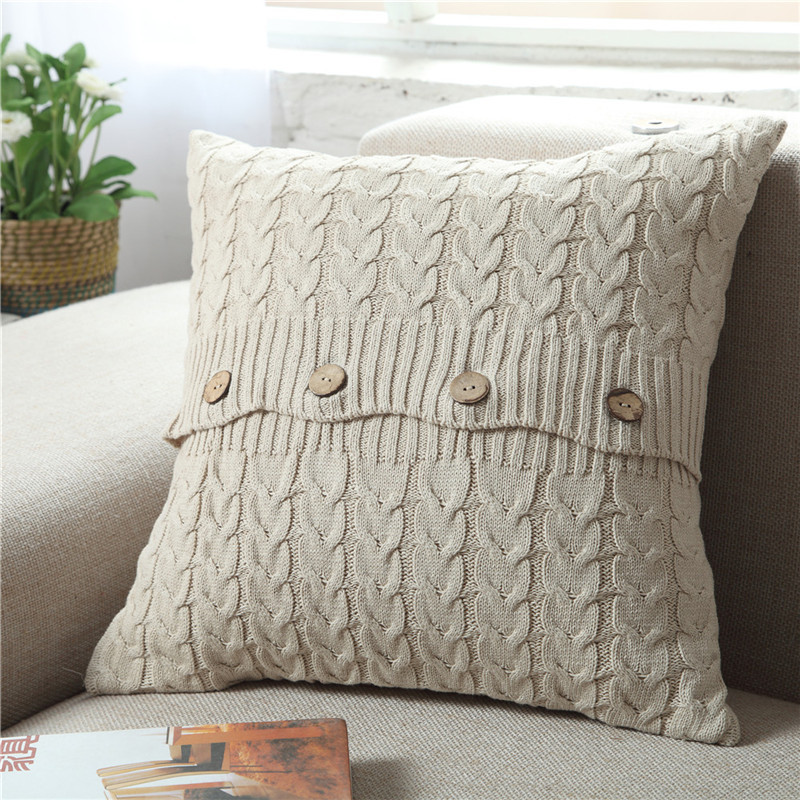 Cable Knit Knitted Soft Squar Throw Cushion Covers Home Decor Lounge Best Clear Plastic Throw Pillow Covers