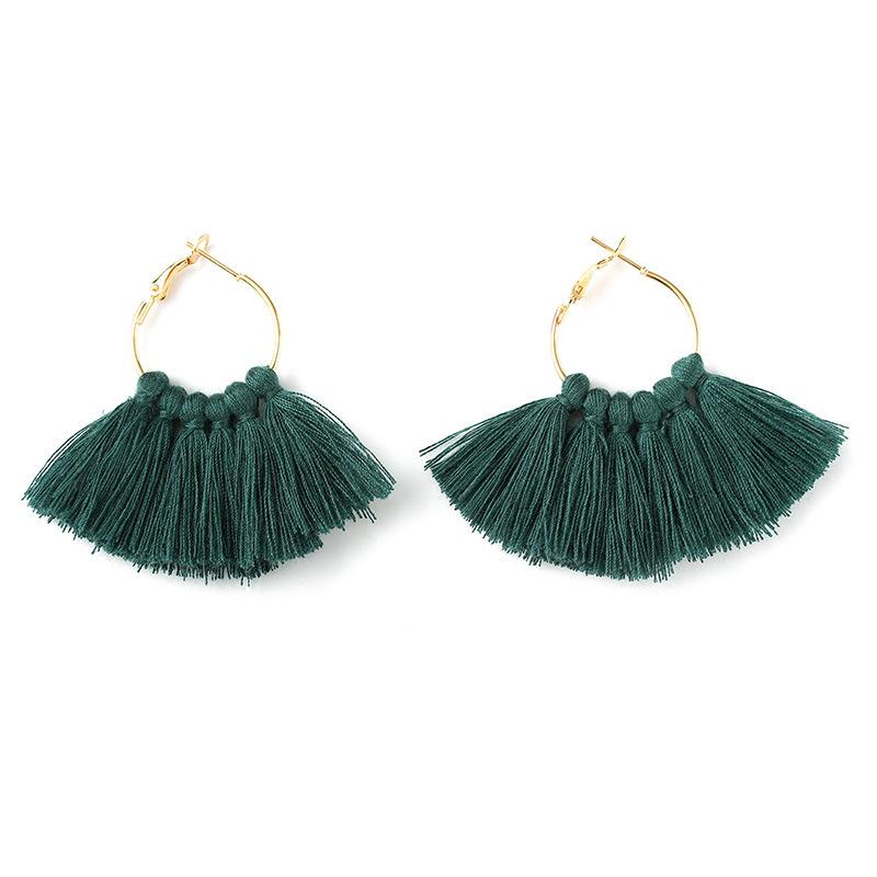 Fashion fan-shaped handmade tassel earrings NHDP149433
