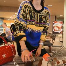 韩国官网代购女士休闲复古气质混色图案印花套头毛衣女 针织衫