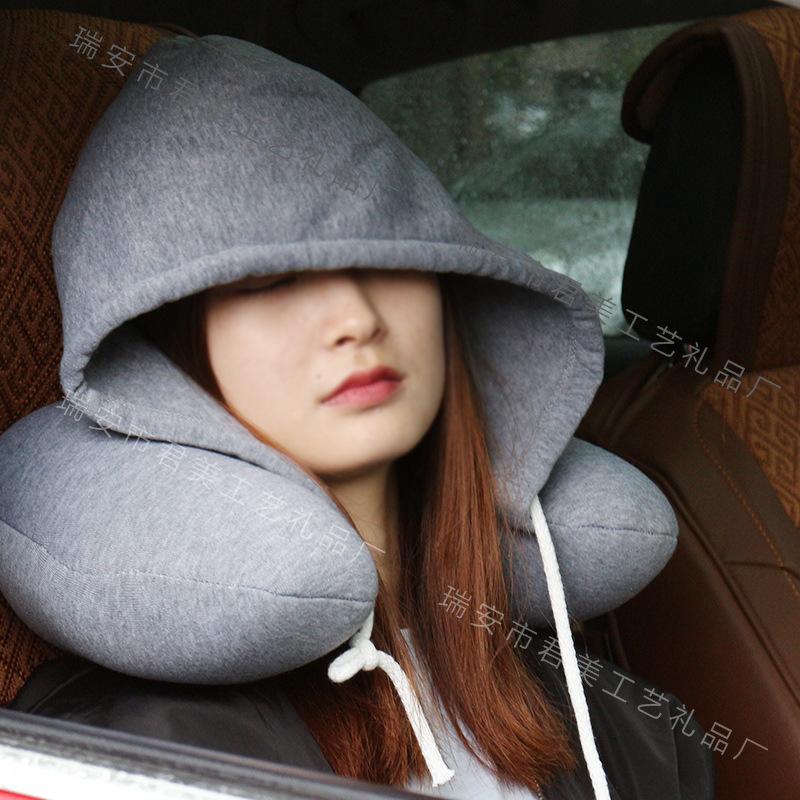 连帽U型枕护颈枕午睡枕颈椎枕带帽子U形枕全棉微粒子旅行枕飞机
