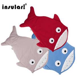 茵秀丽新款童睡袋婴儿被子全棉抱被儿童鲨鱼睡袋卡通包被礼盒批发