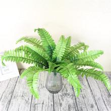 厂家直销仿真植物绿植墙上装饰花草婚庆花艺绿叶蕨类波斯草18片叶
