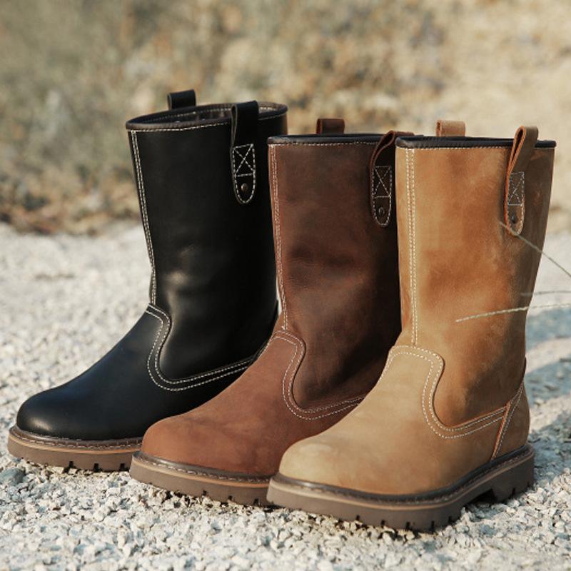 先驱者真皮潮流男靴高筒靴牛皮靴子马丁靴男户外牛仔靴骑士靴1410