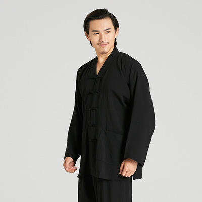 tai chi clothing chinese kung fu uniforms Adult linen long sleeve tai chi clothing traditional martial arts training clothes morning exercise clothes