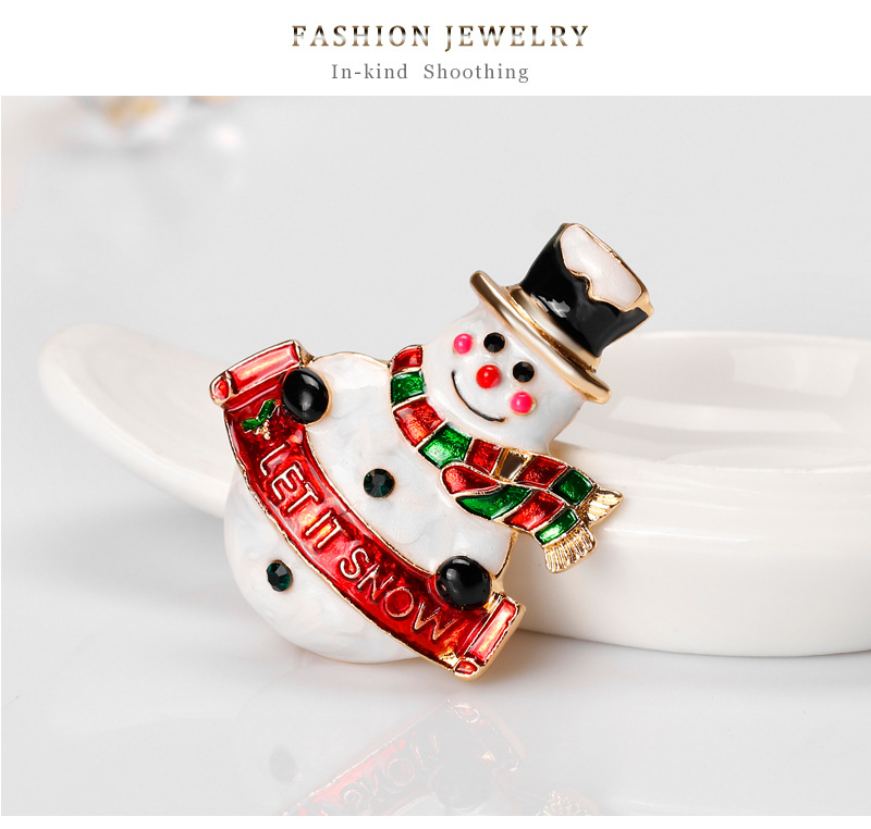 Christmas gift wholesale hot sale snowman brooch alloy drop oil cartoon jewelry NHDR179490