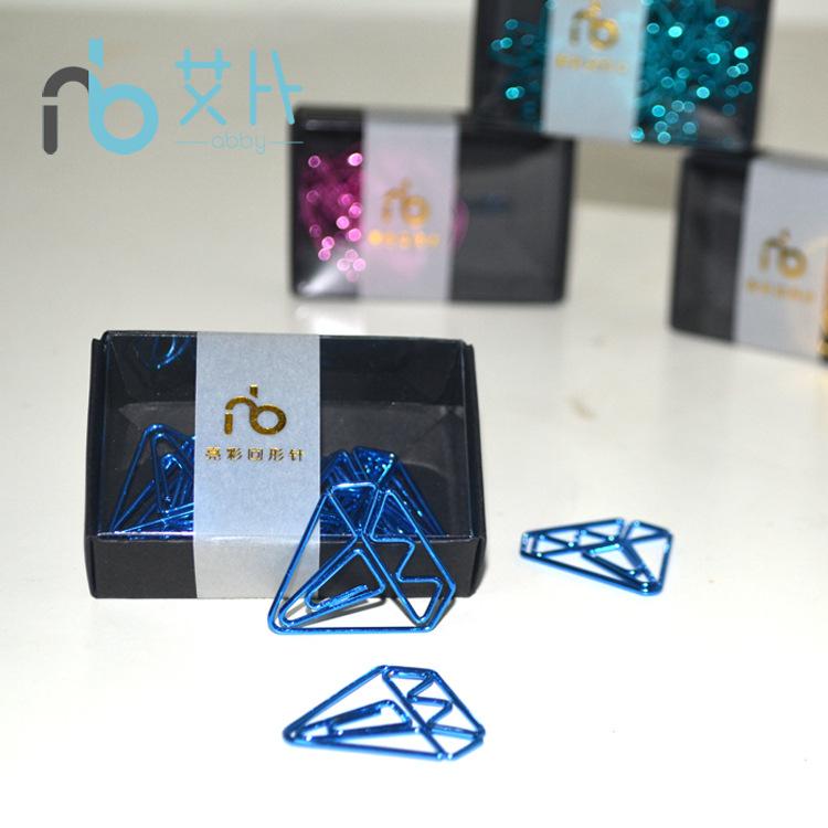 蓝色钻石现货创意回形针 盒装回形针 钻石回形针 异形别针 创意
