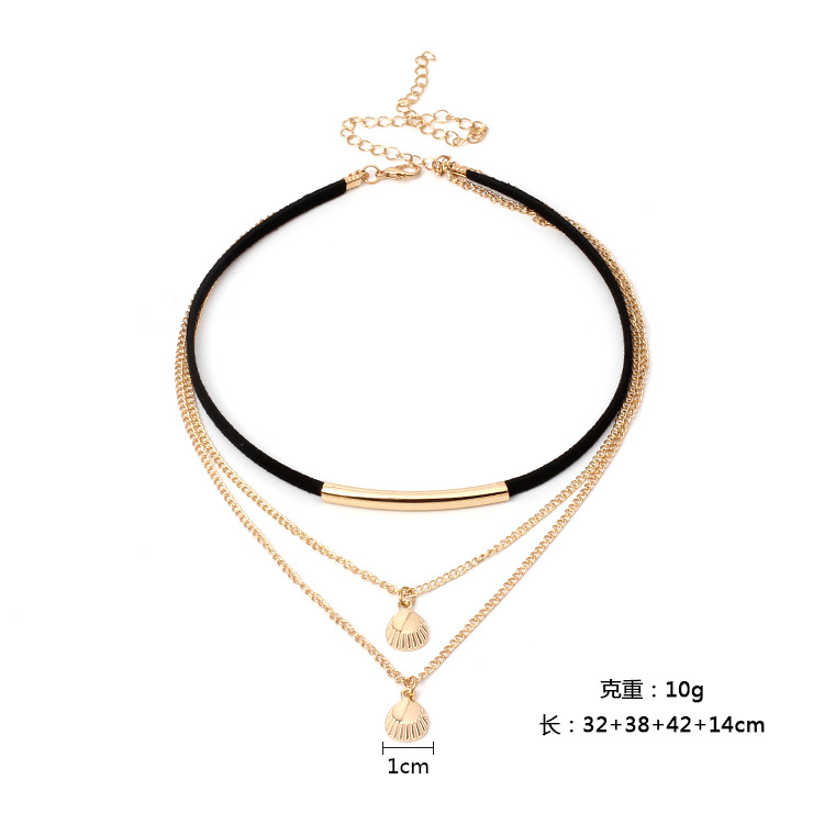 Korean velvet multilayer chain choker metal shell lace alloy necklace jewelry NHRN259964