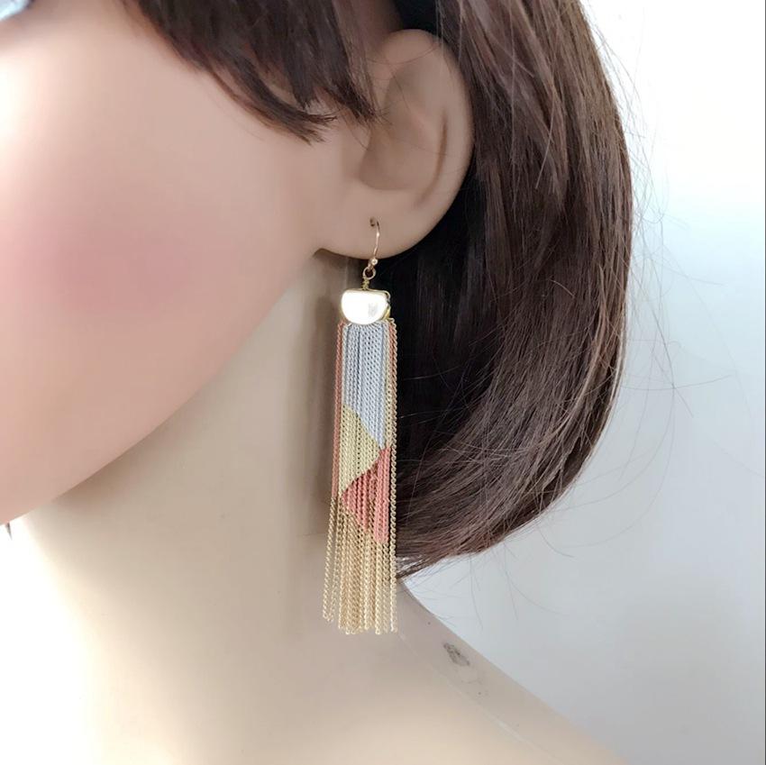Multi-layer tassel chain colored earrings NHOM190870