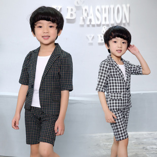 2020 summer children's clothing one-on-one generation boys' plaid suit suit children's short-sleeved shorts two-piece suit