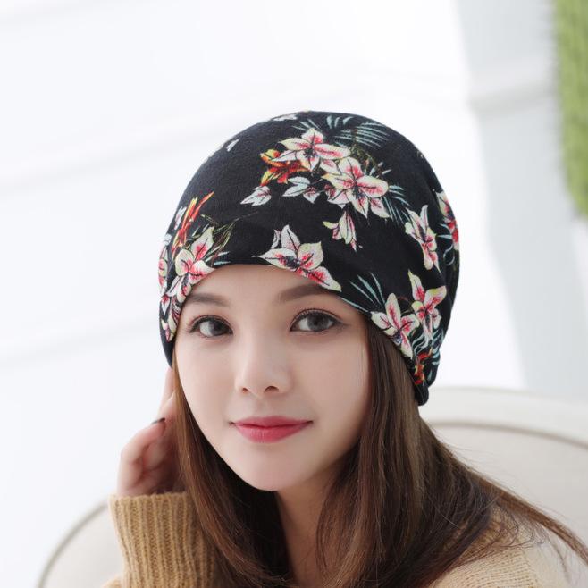 新款碎花柔软套头帽女士 时尚防风孕妇月子帽子厂家 秋冬季