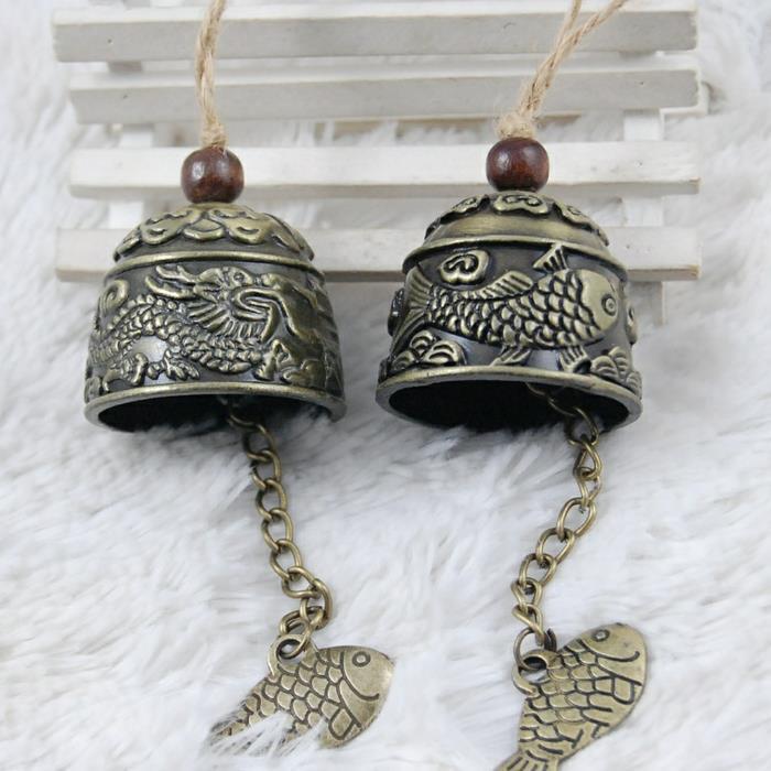 云南丽江民族风铃龙风铃挂件 年年有余风铃挂饰 门饰 金属铜铃铛