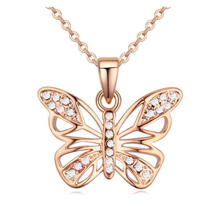 Sleek minimalist Austrian imitated crystal butterfly necklace NHLJ145870