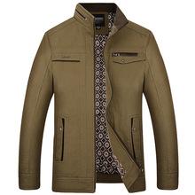 中年男装春秋款夹克衫中老年男士上衣立领休闲纯棉夹克外套爸爸装