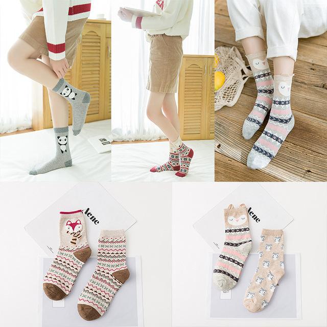 新款上新卡通女袜立体袜子棉中筒女袜可爱女袜日韩系女袜2双装