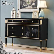新古典客廳實木烤漆玄關柜美式裝飾柜臥室儲物斗柜樣板房家具定制
