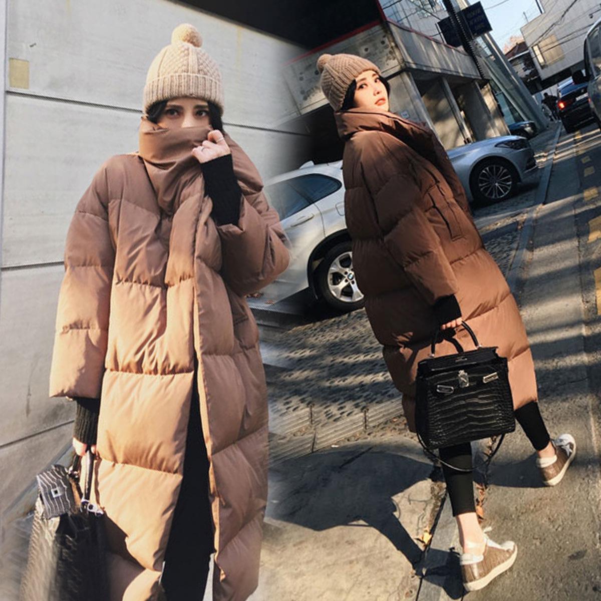焦糖色棉衣女2018冬季新韩版宽松加厚过膝中长款面包羽绒棉服外套