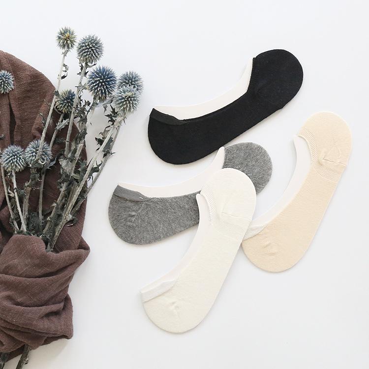 2020春夏新款 浅口全棉弹力防掉跟素色隐形袜点胶防滑女短袜子