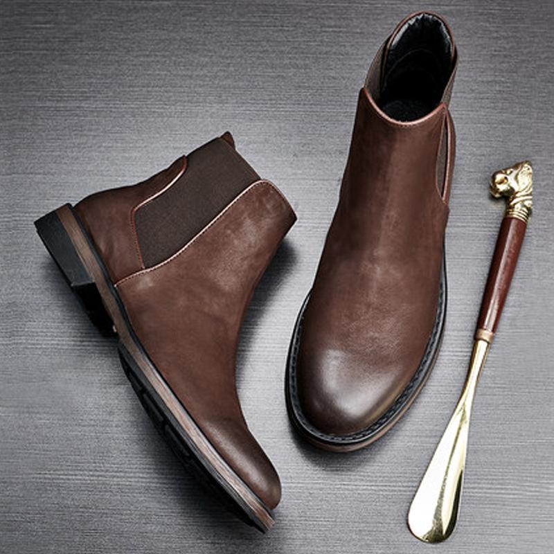 切尔西靴男士高帮皮鞋长筒靴男靴子冬季棉鞋长筒皮靴英伦马丁靴男