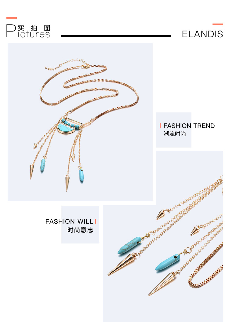 Occident and the United States alloy Turquoise necklace (Golden blue)NHNTF1292-Golden blue