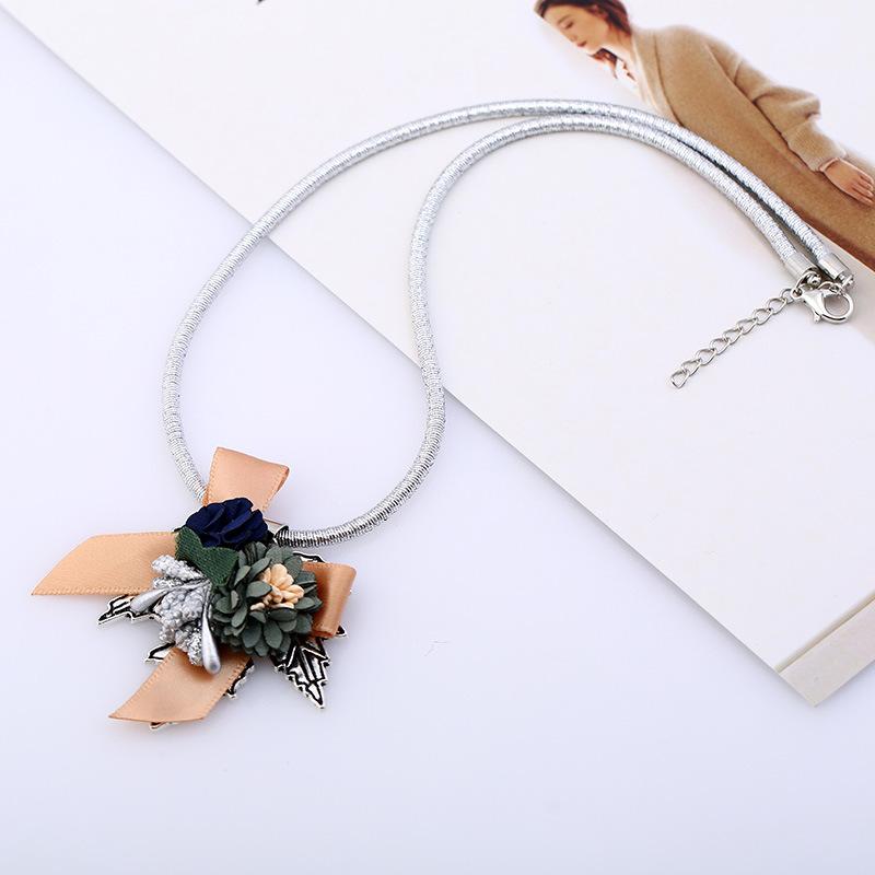 folk-custom alloy plating necklace (Ancient silver - champagne)NHKQ1213-Ancient silver - champagne