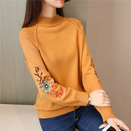 New raglan long-sleeved sweater Autumn fashion embroidered jacket half-high collar pullover sweater female loose
