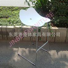 ?#36824;?#22411;塑料坐板休闲酒吧凳 简约时尚不锈钢脚塑料吧椅JB-PB308