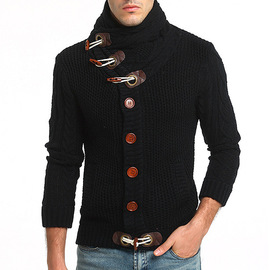 New headless male bulls buckle coarse wool twist collar long sleeve thickened cardigan sweater 7756