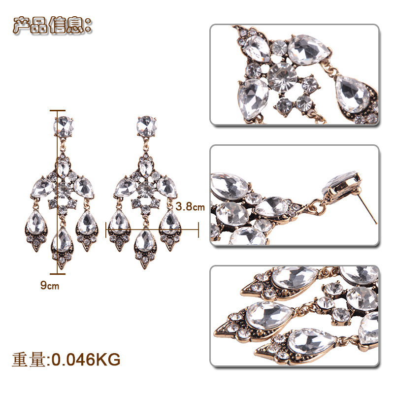 Alternative alloy Inlaid gemstones earring (silver white)NHJQ9233-silver white